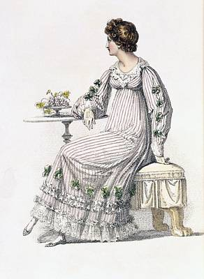 Stripe Drawing - Day Dress, Fashion Plate by English School