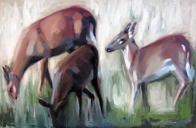 Painting - Deer In Golden Meadow by Erin Rickelton