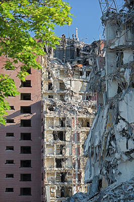 Torn Photograph - Demolition Of Detroit Housing Towers by Jim West