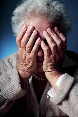 Melancholia Wall Art - Photograph - Depressed Elderly Woman by Mauro Fermariello/science Photo Library