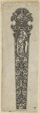Theodor De Bry Drawing - Design For A Knife Handle by attributed to Johann Theodor de Bry