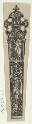 Theodor De Bry Drawing - Design For A Knife Handle by Johann Theodor de Bry