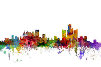 Detroit Digital Art - Detroit Michigan Skyline by Michael Tompsett