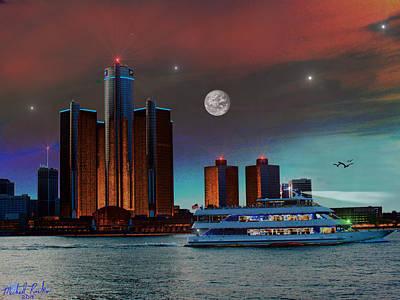 Detroit Skyline Art Print by Michael Rucker