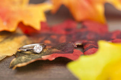 Gold Leaf Ring Photograph - Diamond Engagement Ring by U Schade