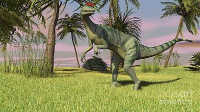 Digital Art - Dilophosaurus Hunting In A Field by Kostyantyn Ivanyshen