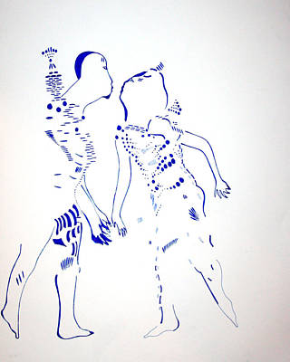 Dinka Corset Drawing - Dinka Courtship - South Sudan by Gloria Ssali