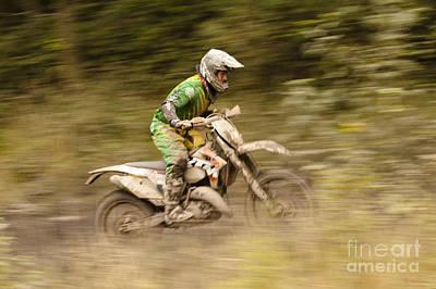 Dirt Bike Race Print by Angel  Tarantella