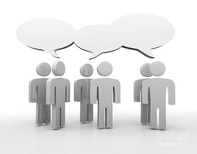 Discussion Blank Speech Bubbles Art Print