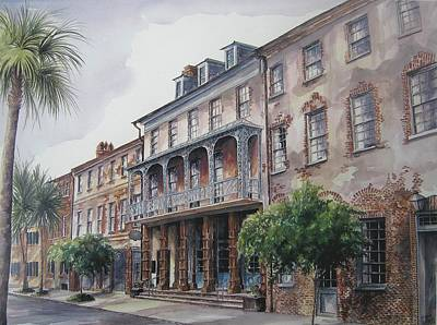 Art Print featuring the painting Dock Street Theatre by Gloria Turner