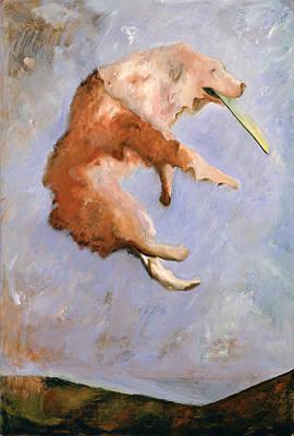 Dog At Play Painting - Ain't Life Grand by Barbara J Hart