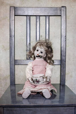 Doll With Tea Cup Art Print