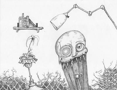 Drawing - Dollskull by Dan Twyman