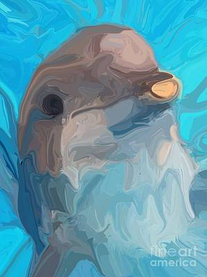 Aquatic Digital Art - Dolphin by Chris Butler