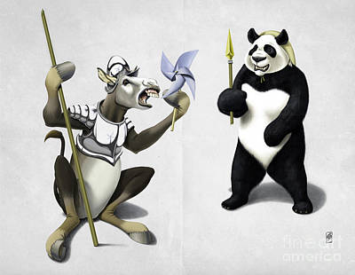 Drawing - Donkey Xote And Sancho Panda Wordless by Rob Snow