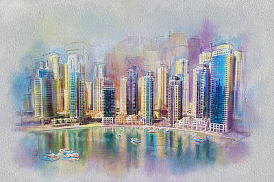 Dubai Skyline Painting - Downtown Dubai Skyline by Corporate Art Task Force