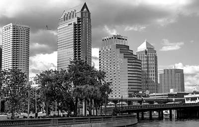 Tampa Skyline Photograph - Downtown Tampa 2 Bw by Norman Johnson