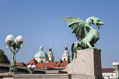 Medieval Temple Photograph - Dragon Bridge. Ljubljana. by Fernando Barozza