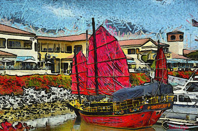 Chinese Junk Photograph - Dragon Lady At Venture Harbor by Barbara Snyder