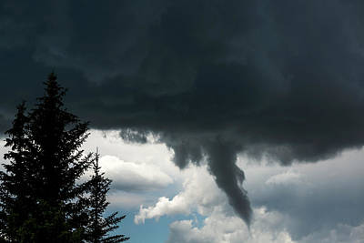 Dramatic Funnel Cloud Created In Dark Art Print by Michael Interisano