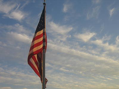 Roaring Red - Draped American Flag Pole Dusk Casa Grande Arizona 2004 by David Lee Guss