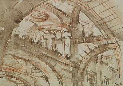 Surrealism Drawing - Drawing Of An Imaginary Prison by Giovanni Battista Piranesi