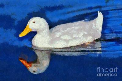 Birds Painting - Painting Of Duck by George Atsametakis