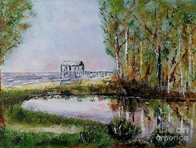 Art Print featuring the painting Fairhope Al. Duck Pond by Melvin Turner