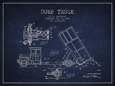 Technical Digital Art - Dump Truck Patent Drawing From 1934 by Aged Pixel