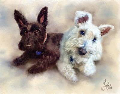 Scottish Dog Painting - Duncan And Zoe by Colleen Taylor