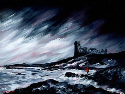 Dunure Red Coat Art Print by J P McLaughlin