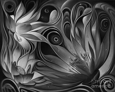 White Lotus Painting - Dynamic Floral Fantasy by Ricardo Chavez-Mendez