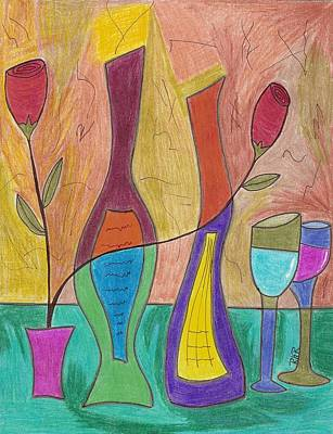 Glass Bottle Drawing - 2 Each by Ray Ratzlaff