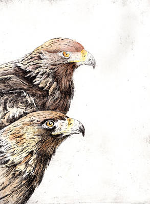 Printmaking Mixed Media - 2 Eagles by Jennifer Phillip