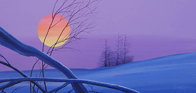 Mountain Sunset Painting - Silent Snow by Hunter Jay