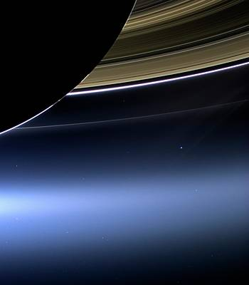 Planets Photograph - Earth And Moon From Saturn by Nasa
