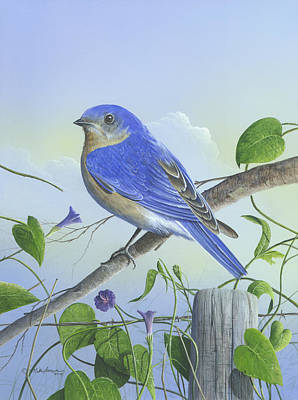 Painting - Eastern Bluebird by Mike Brown