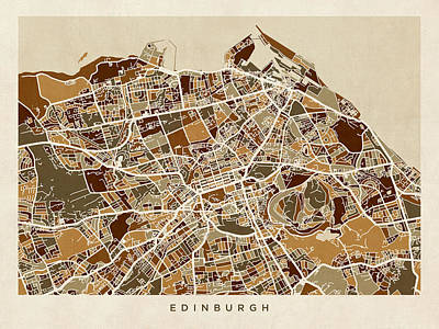 Great Britain Digital Art - Edinburgh Street Map by Michael Tompsett