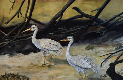 Sunset Painting - Egret by Sheela Padmanabhan
