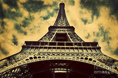 Paris Skyline Royalty-Free and Rights-Managed Images - Eiffel Tower in Paris Fance in retro style by Michal Bednarek