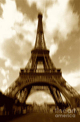 Brown Toned Photograph - Eiffel Tower  by Tony Cordoza
