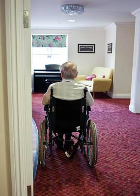Elderly Man In A Wheelchair Art Print by John Cole