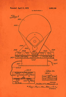 Baseball Drawing - Electric Baseball Game Patent 1972 by Mountain Dreams