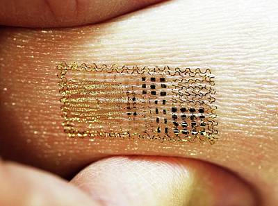 Electronics Photograph - Electronic Circuit Printed Onto Skin by Professor John Rogers, University Of Illinois