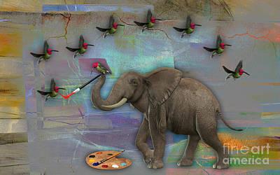 Bird Mixed Media - Elephant Painting by Marvin Blaine