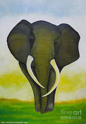 Painting - Elephant Painting by Rekha Artz