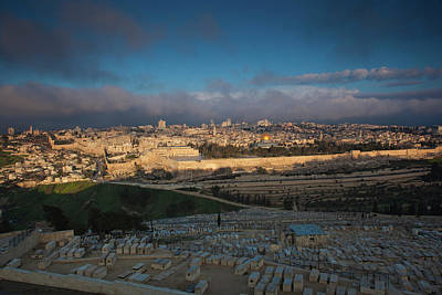 Elevated City View With Temple Mount Art Print