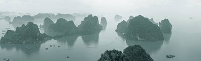 Ha Long Bay Photograph - Elevated View Of Misty Ha Long Bay by Panoramic Images