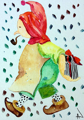 Clous Painting - Elf Santa's Helper by Patricia Lazaro