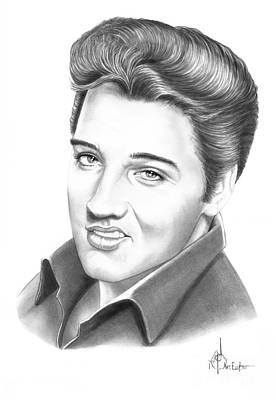 Rock N Roll Drawing - Elvis Aaron Presley by Murphy Elliott